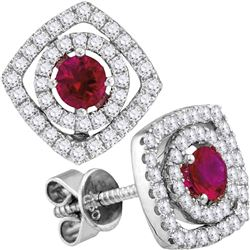18kt White Gold Womens Round Ruby Diamond Fashion Earrings 7/8 Cttw