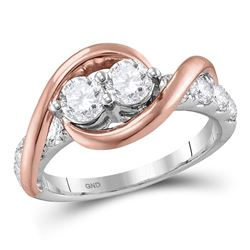 14kt Two-tone Gold Womens Round Diamond 2-stone Bridal Wedding Engagement Ring 1.00 Cttw