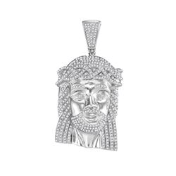 10kt White Gold Mens Round Diamond Jesus Face Charm Pendant 1-5/8 Cttw