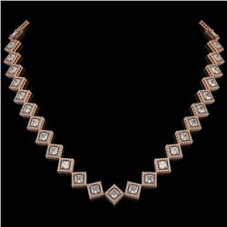 26.88 ctw Princess Cut Diamond Micro Pave Necklace 18K Rose Gold