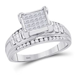 Sterling Silver Womens Princess Diamond Square Cluster Bridal Wedding Engagement Ring 1.00 Cttw