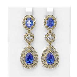 14.42 ctw Tanzanite & Diamond Earrings 18K Yellow Gold