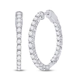 14kt White Gold Womens Round Diamond Inside-Outside Hoop Earrings 3.00 Cttw