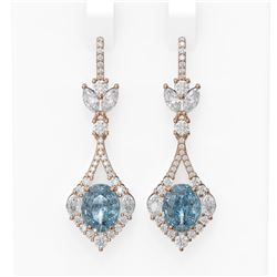 9.02 ctw Blue Topaz & Diamond Earrings 18K Rose Gold