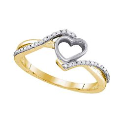 10kt Yellow Gold Womens Round Diamond Heart Ring 1/20 Cttw