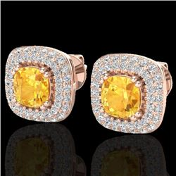 2.16 ctw Citrine & Micro VS/SI Diamond Earrings Halo 14k Rose Gold