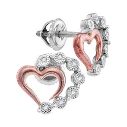 Sterling Silver Womens Round Diamond Heart Earrings 1/20 Cttw