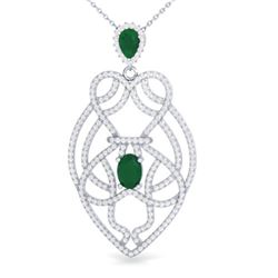3.50 ctw Emerald & Micro VS/SI Diamond Heart Necklace 14k White Gold