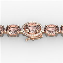26 ctw Morganite & Diamond Eternity Micro Bracelet 14k Rose Gold