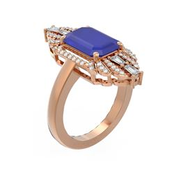6.52 ctw Sapphire & Diamond Ring 18K Rose Gold