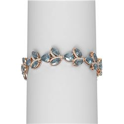 27.72 ctw Blue Topaz & Diamond Bracelet 18K Rose Gold