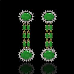 8.07 ctw Jade & Diamond Earrings 14K Yellow Gold