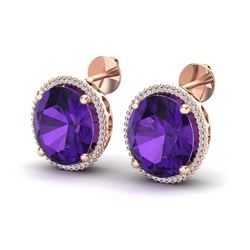 20 ctw Amethyst & Micro VS/SI Diamond Pave Earrings 14k Rose Gold