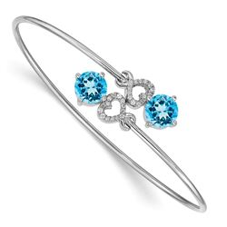 14k White Gold Blue Topaz Overlap Bangle - 7 in.