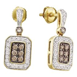14kt Yellow Gold Womens Round Brown Diamond Dangle Earrings 1/2 Cttw