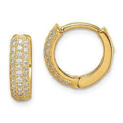 14k Yellow Gold Cubic Zirconia Hinged Hoop Earrings - 39 mm