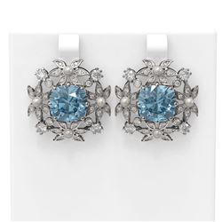 9.83 ctw Aquamarine & Diamond with Pearl Earrings 18K White Gold