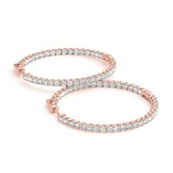 6.75 ctw Diamond VS/SI 55 MM Hoop Earrings 14k Rose Gold