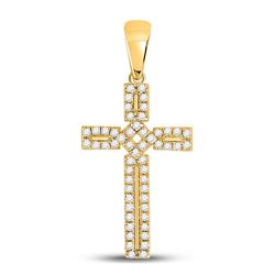10kt Yellow Gold Womens Round Diamond Roman Cross Pendant 1/3 Cttw