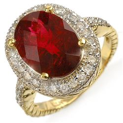 5.50 ctw Rubellite & Diamond Ring 14k Yellow Gold