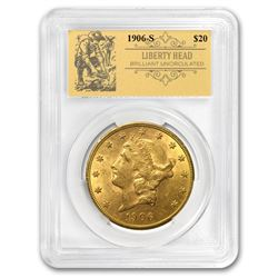 1906-S $20 Liberty Gold Double Eagle BU PCGS (Prospector Label)