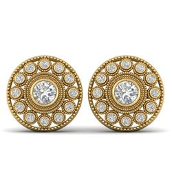 1.11 ctw VS/SI Diamond Art Deco Stud Earrings 14k Yellow Gold