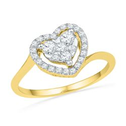 10kt Yellow Gold Womens Round Diamond Framed Heart Cluster Ring 1/3 Cttw
