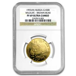 1993 Russia 1/2 oz Gold 100 Roubles Brown Bear PF-69 NGC