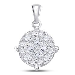 14kt White Gold Womens Princess Diamond Fashion Cluster Pendant 1.00 Cttw
