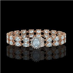 29.32 ctw Sky Topaz & Diamond Bracelet 14K Rose Gold