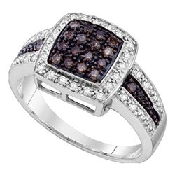 10kt White Gold Womens Round Brown Diamond Cluster Ring 1/2 Cttw - Size 6
