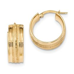 14k Solid Gold Polished & Satin Hoop Earrings (21.05)