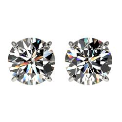 2.05 ctw Certified Quality Diamond Stud Earrings 10k White Gold