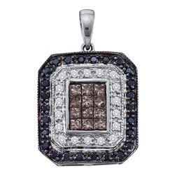 14kt White Gold Womens Black Brown Diamond Rectangle Cluster Pendant 3/4 Cttw