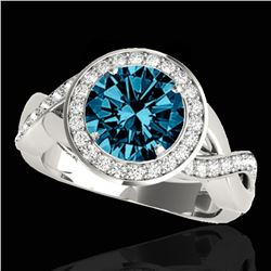 2 ctw SI Certified Fancy Blue Diamond Solitaire Halo Ring 10k White Gold