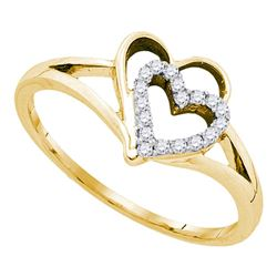 10kt Yellow Gold Womens Round Diamond Double Nested Heart Ring 1/8 Cttw