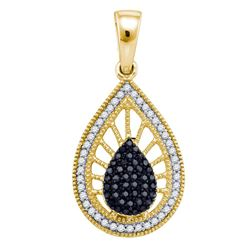 10kt Yellow Gold Womens Round Black Color Enhanced Diamond Teardrop Pendant 1/4 Cttw