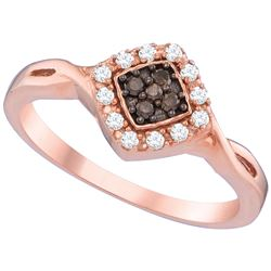 10kt Rose Gold Womens Round Brown Diamond Cluster Ring 1/5 Cttw