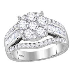 14kt White Gold Womens Round Diamond Cluster Bridal Wedding Engagement Ring 1-7/8 Cttw