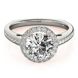 0.8 ctw Certified VS/SI Diamond Solitaire Halo Ring 18k 2Tone Gold