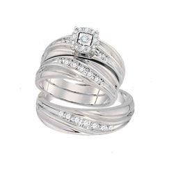 10kt White Gold Round Diamond Mens Womens Matching Trio Wedding Engagement Bridal Ring Band Set