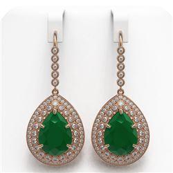 31.74 ctw Certified Emerald & Diamond Victorian Earrings 14K Rose Gold