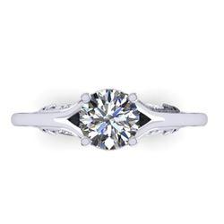1 ctw Solitaire Certified VS/SI Diamond Ring Art Deco 14k White Gold