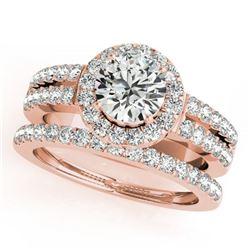 1.58 ctw Certified VS/SI Diamond 2pc Wedding Set Halo 14k Rose Gold