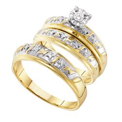 14kt Yellow Gold His Hers Round Diamond Solitaire Matching Bridal Wedding Ring Band Set 1/20 Cttw