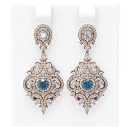 5.85 ctw Intense Blue Diamond Earrings 18K Rose Gold