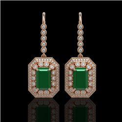 14.16 ctw Certified Emerald & Diamond Victorian Earrings 14K Rose Gold
