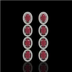6.47 ctw Ruby & Diamond Micro Pave Halo Earrings 10k White Gold