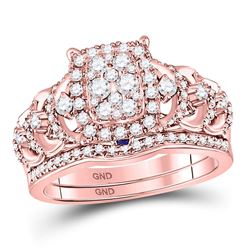 14kt Rose Gold Womens Round Diamond Bridal Wedding Engagement Ring Band Set 1.00 Cttw