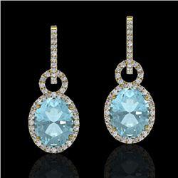 6 ctw Aquamarine & Micro Pave VS/SI Diamond Earrings 14k Yellow Gold